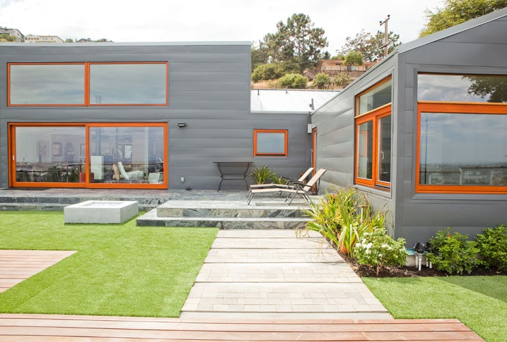wooden windows in modern house