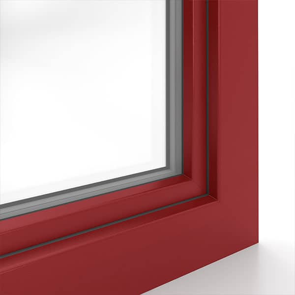 sample of decorative aluplast foil in dark red colour