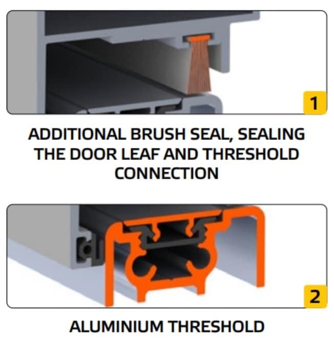additional brush and aluminium threshold